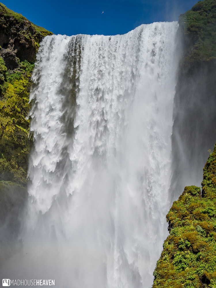 The relentless wall of water of the Skógafoss Waterfall