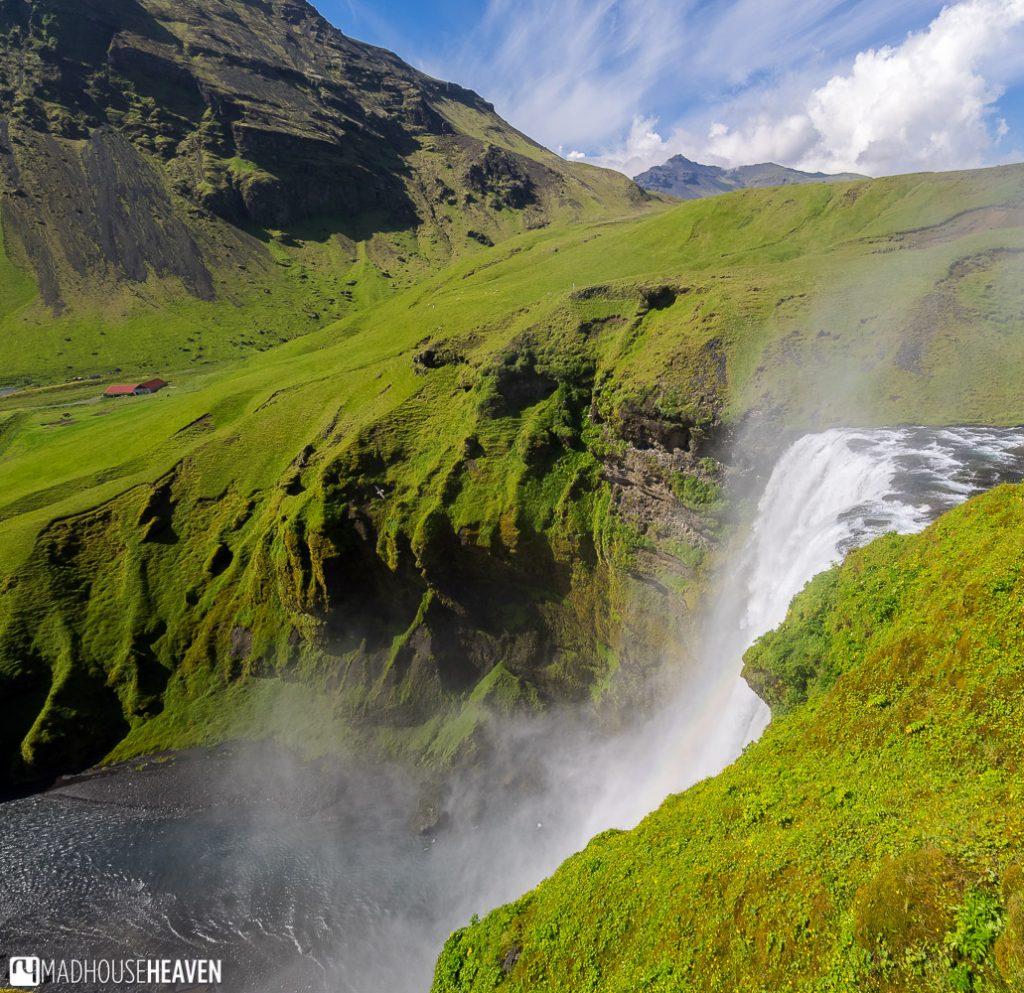 The view from the top of the Skógafoss Waterfall