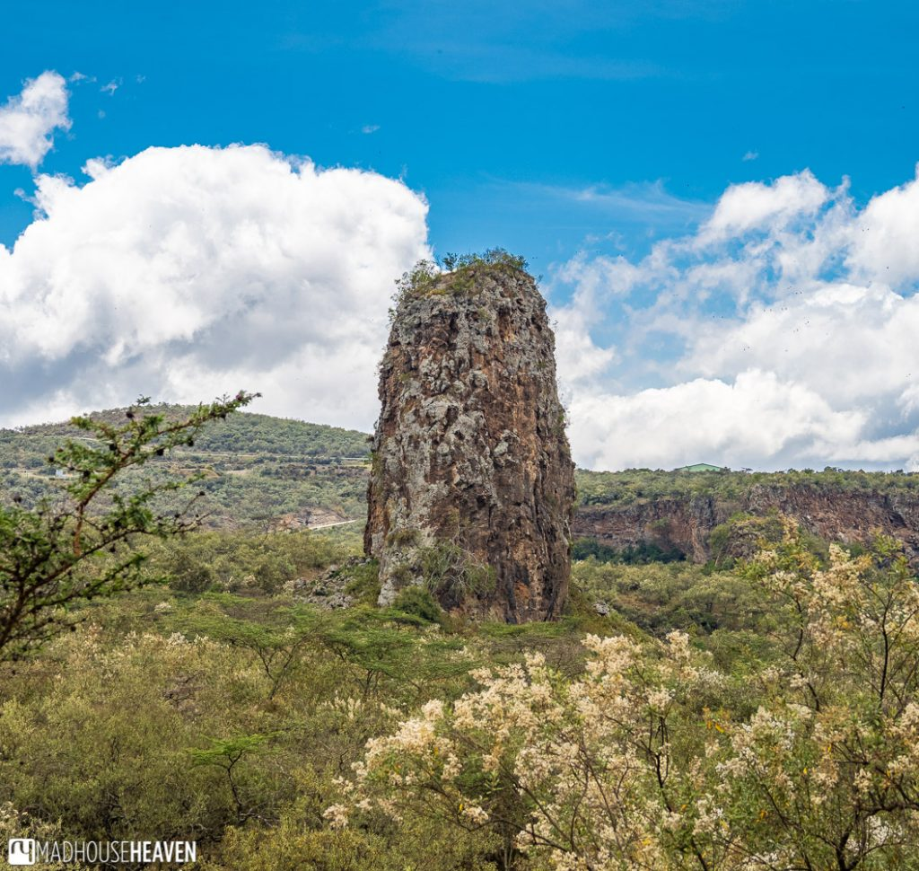 The Hell's Gate National Park features two prominent volcanic plugs - Fischer's Tower and Central Tower, which is shown here