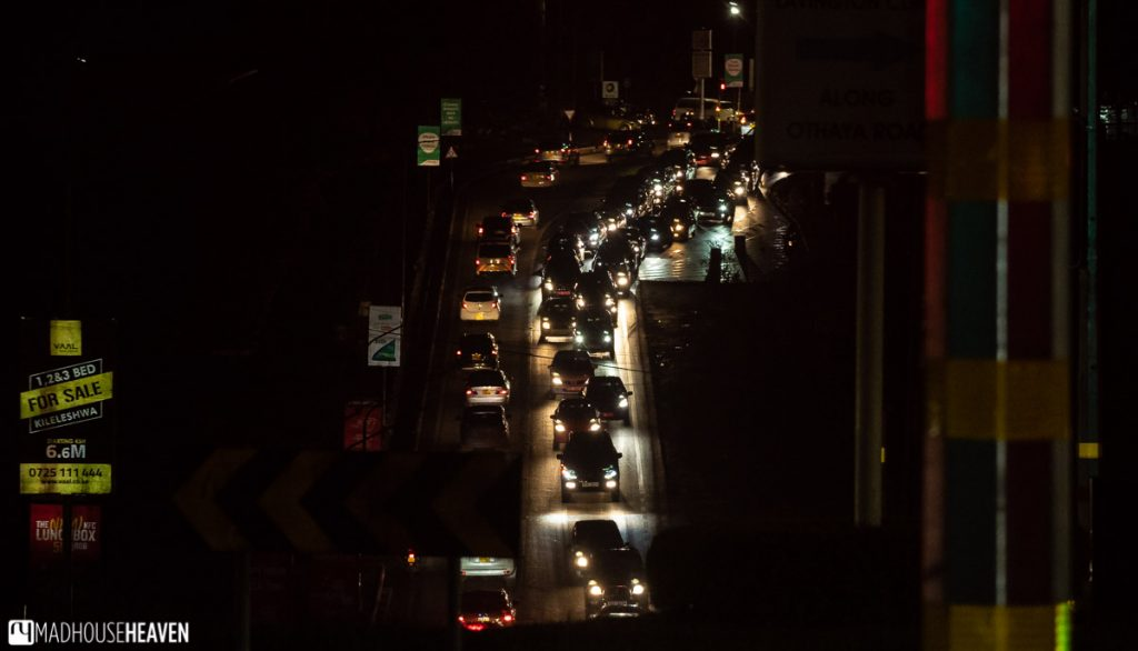 Night shot of a traffic jam along the entrance road to Nairobi