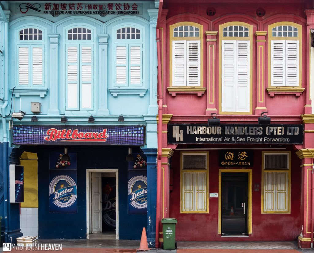 Two shophouses in Chinatown with very different businesses