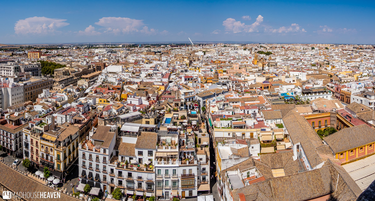 The view of Seville and its Old Town from the top of the Giralda Tower