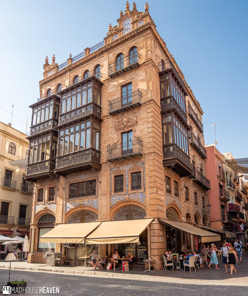 Overhanging Islamic style balconies in Seville, Spain
