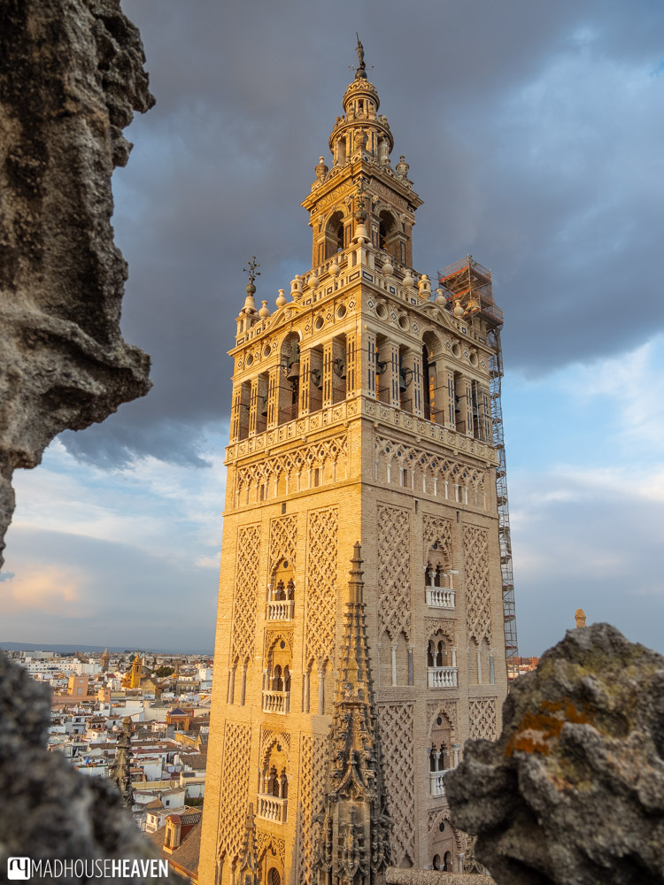 The Giralda Tower seen from the roofs of the Seville Cathedral
