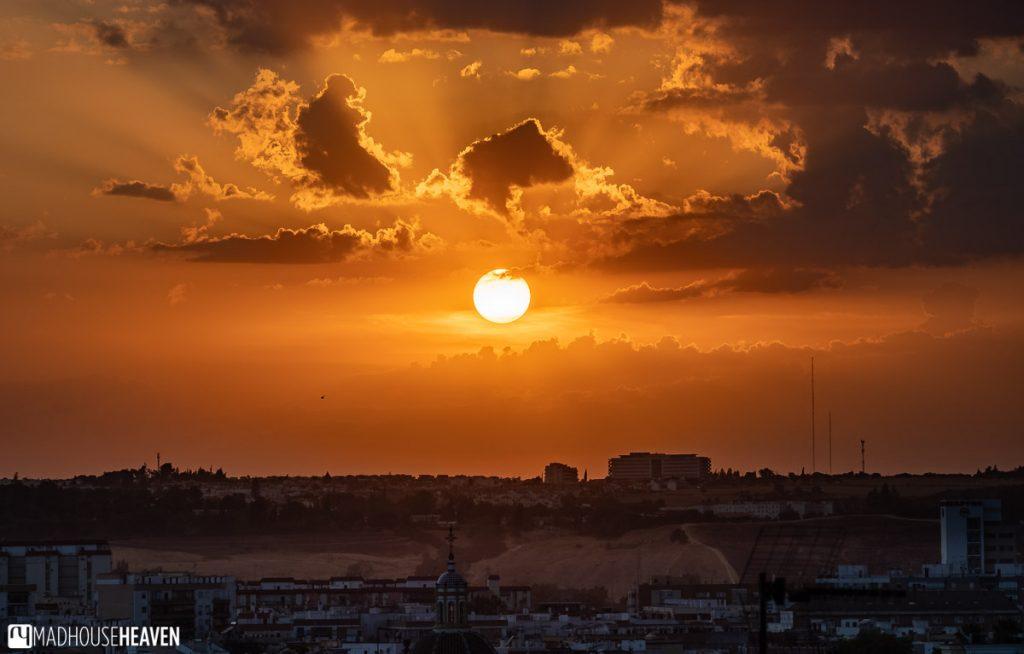 A blood orange sunset over Seville, Spain