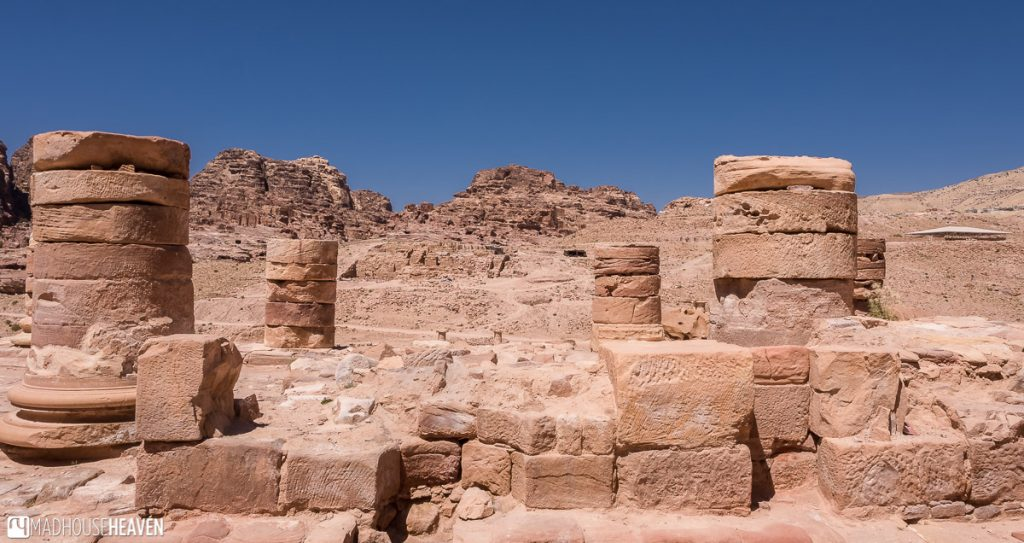 The remains of the Great Temple of Petra, only the lower portion of a few columns remain of this former government building of the Nabatean civilisation