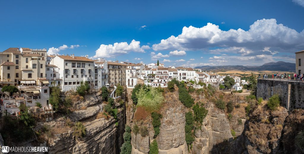 The houses on the new side of Ronda hanging precariously at the very edge of the gorge