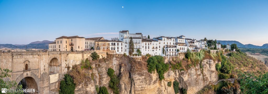 Panorama of the old town of Ronda in the early evening