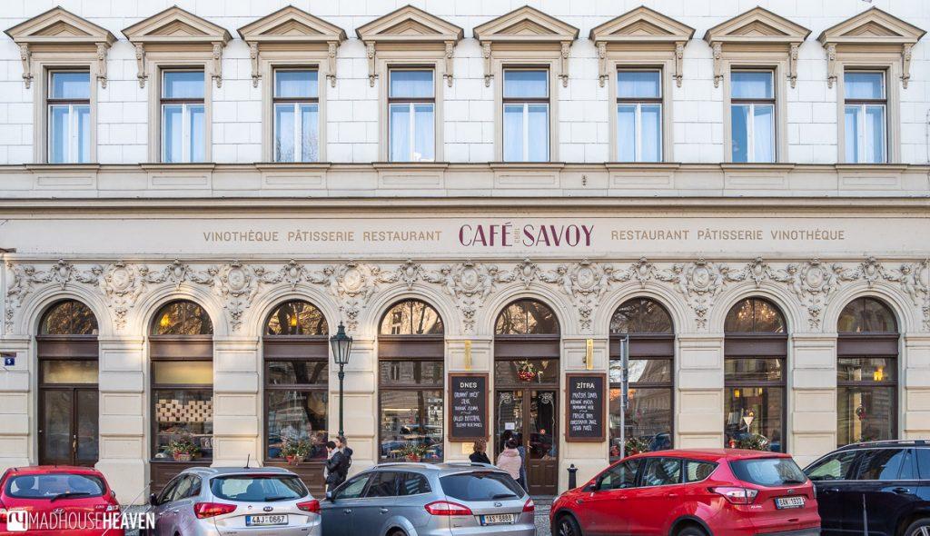 The Neo-Renaissance entrance to Prague's Café Savoy.