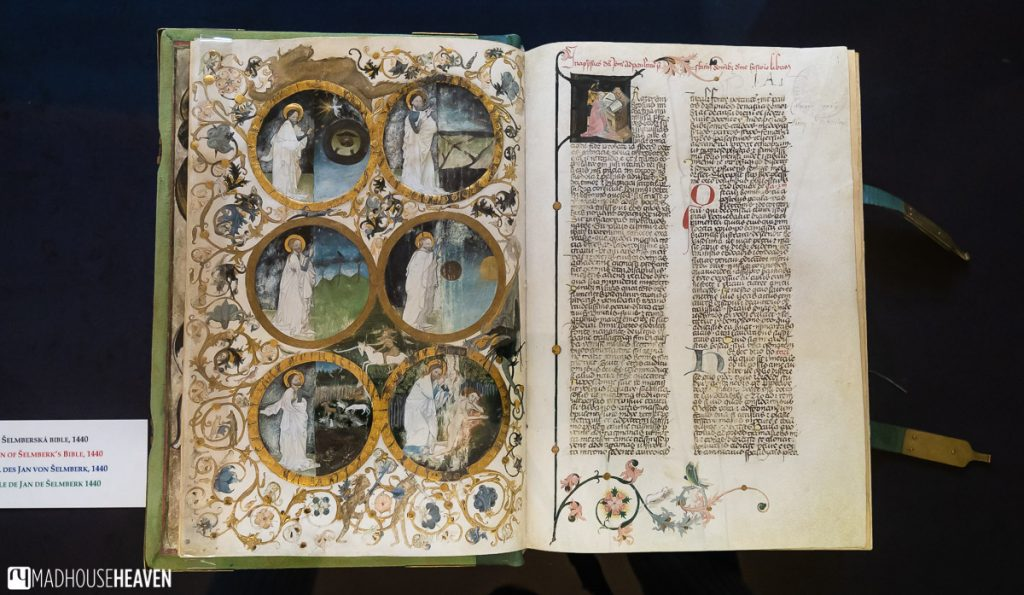Illuminated Bible from 1440 A.D. with medieval illustrations