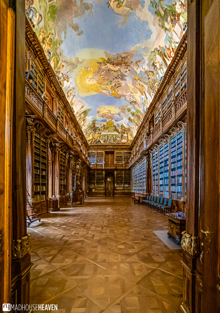 The Philosophical Hall from the entrance, with its stunning Baroque decorations. A beautiful Prague library.
