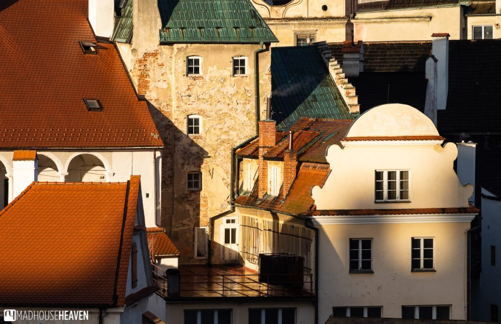 Buildings of both Renaissance and Medieval character are crowded against each other in the Old Town of Cesky Krumlov