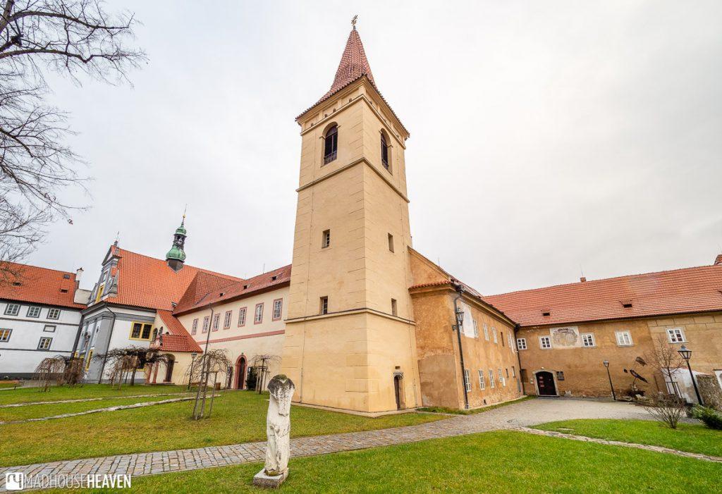 Empty courtyard of the Krumlov Monastery church