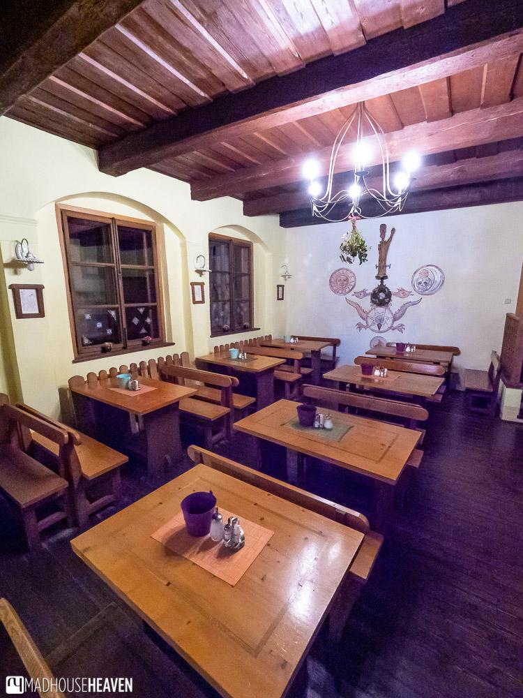 A medieval style dining hall in Cesky Krumlov, the Czech Republic