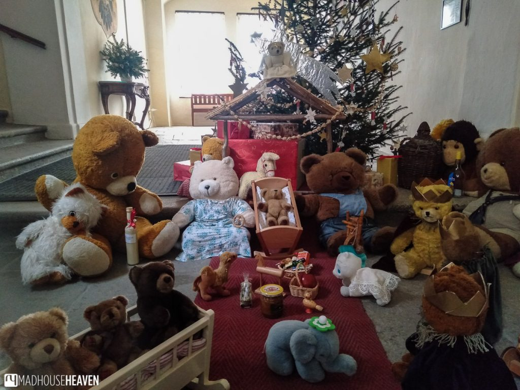 The Christ nativity scene depicted with teddy bears in the Krumlov Castle