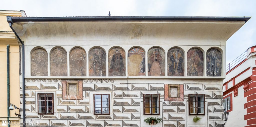 Sgraffito paintings from the Renaissance era on a building in the Látran neighbourhood in Cesky Krumlov