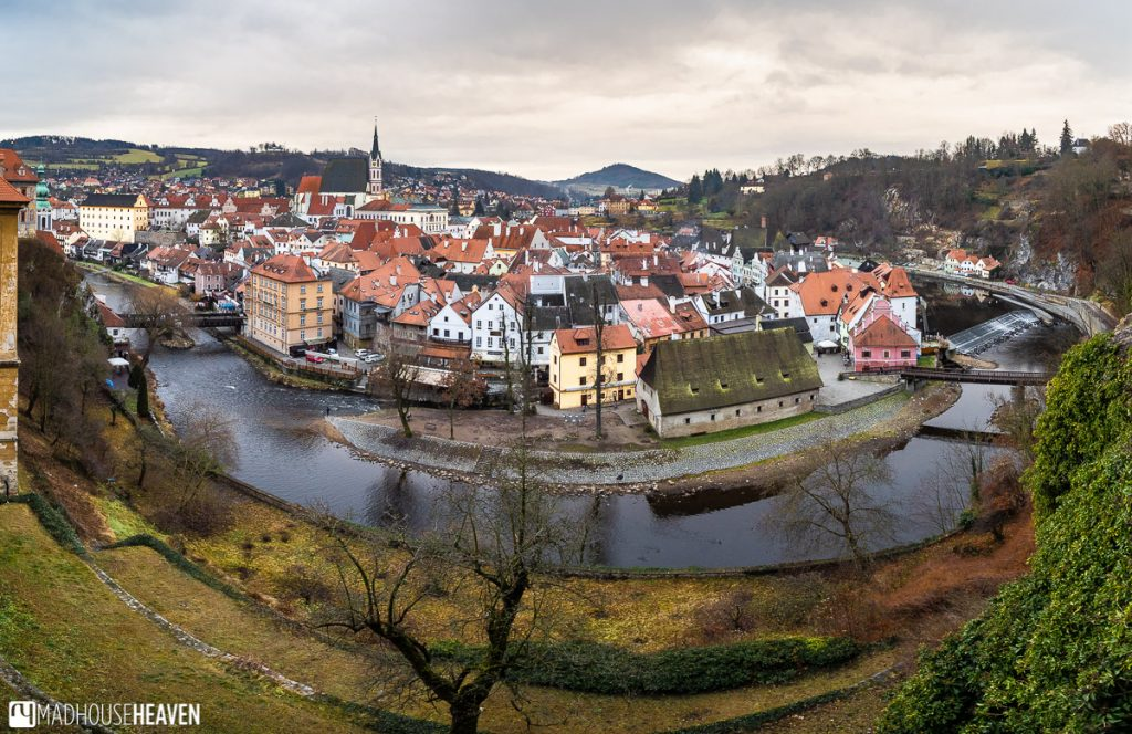 Just a quaint Czech village in the bend of the Vltava river with its little houses and prominent church