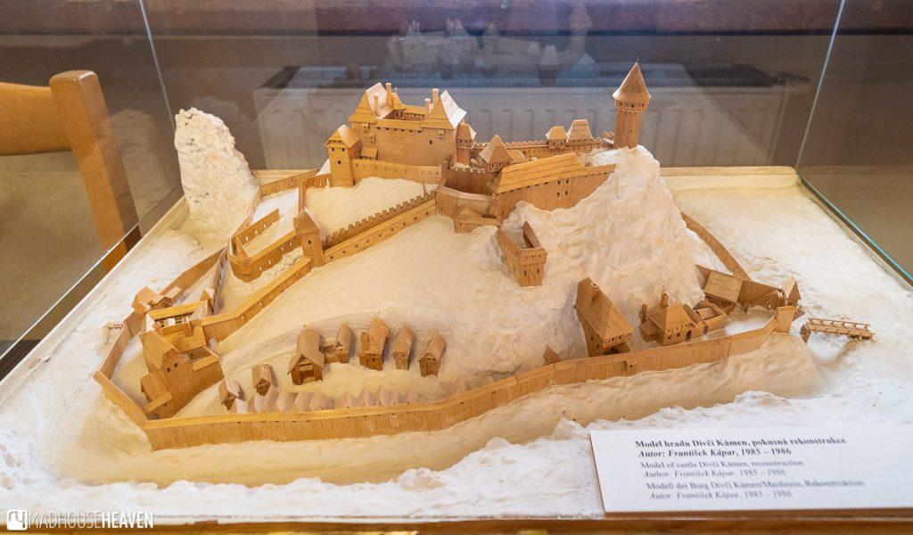 A wooden model of the Český Krumlov castle