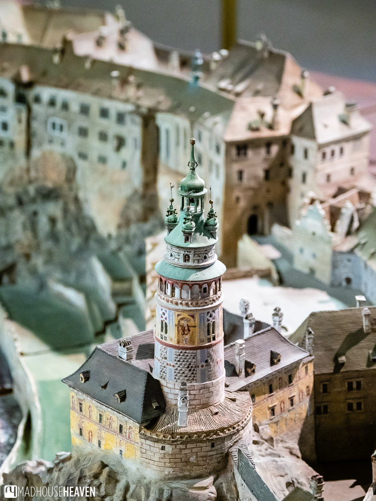 Close up of the Český Krumlov ceramic model - the castle tower tower