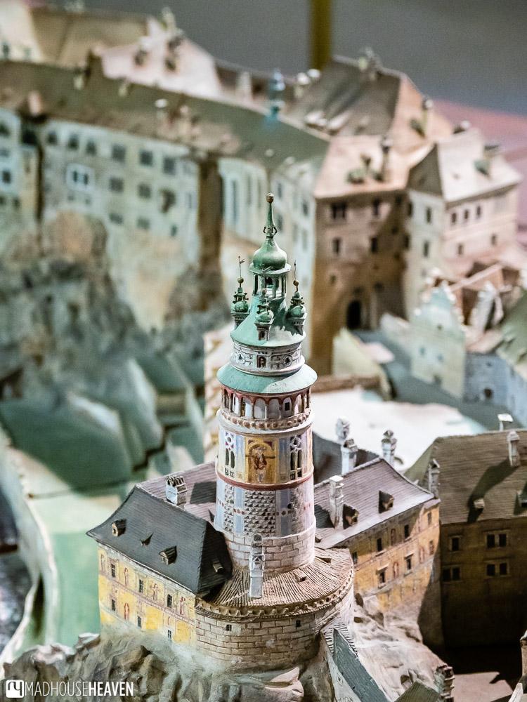 Close up of the Český Krumlov ceramic model - the castle tower tower