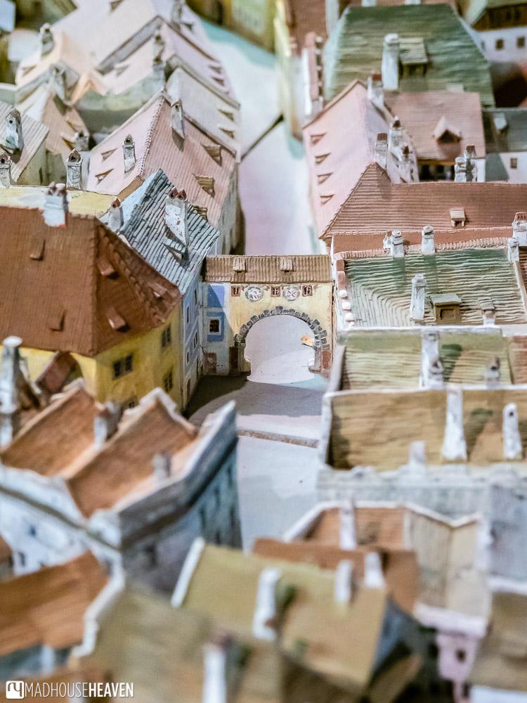 The streets of Český Krumlov Old Town in the ceramic model of the city