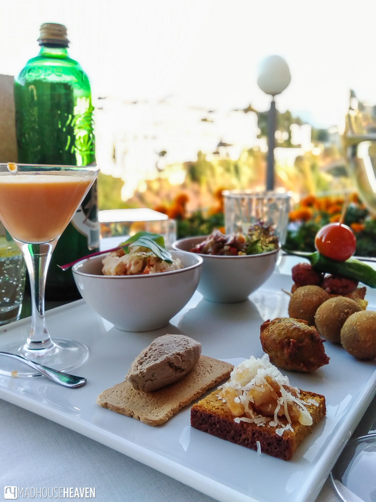 Selection of tapas in the Parador de Ronda, including the famous Andalusian Salmorejo