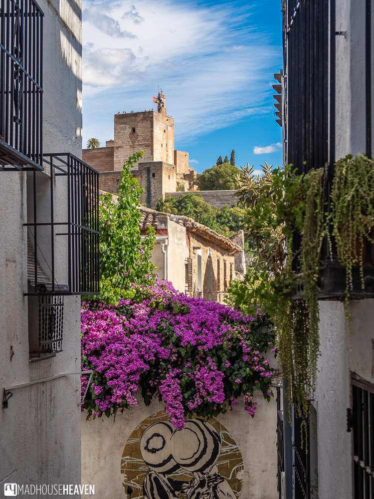 View of Alhambra from one of the streets in Albaicín, Granada
