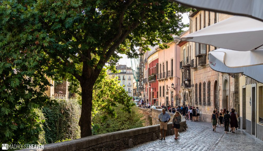 A pedestrian street along the river banks of the El Darro