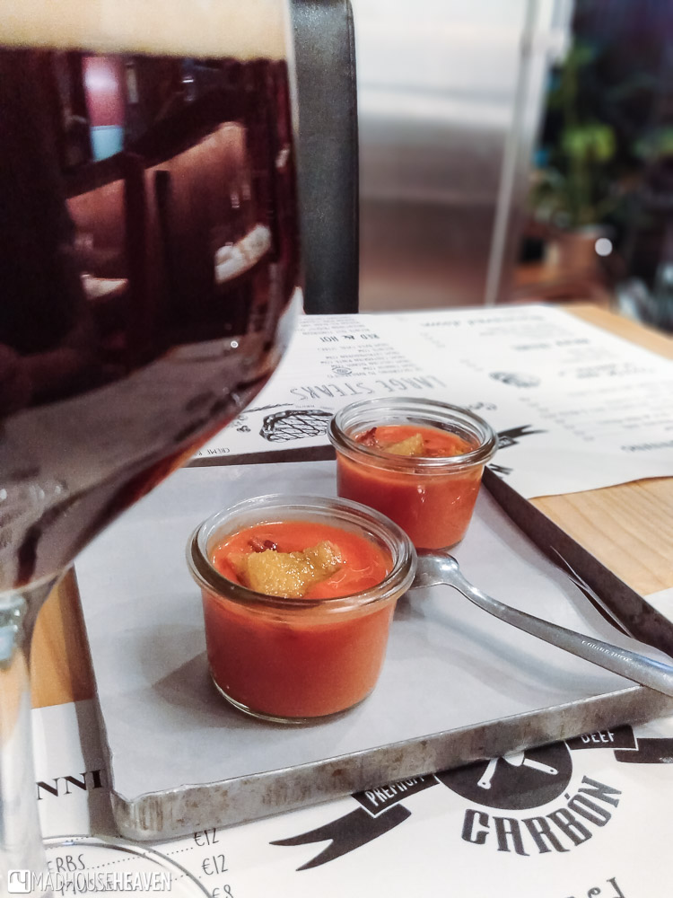 Salmorejo, the Andalusian version of gaspacho, served in tiny glasses