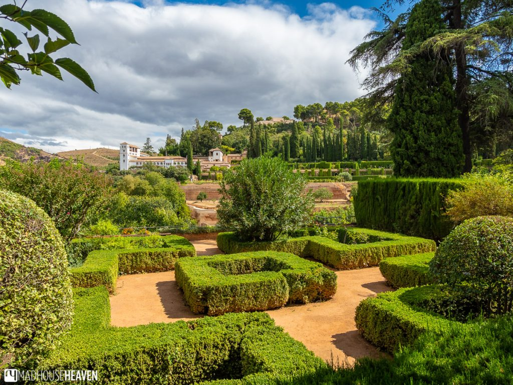 View of the Jardines del Paraiso and Generalife from the restaurant terrace in the Parador de San Francisco