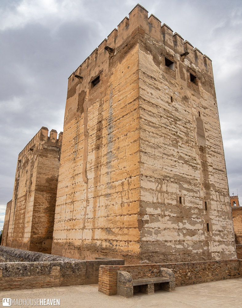 Stark lines of the Alcazaba towers in Alhambra