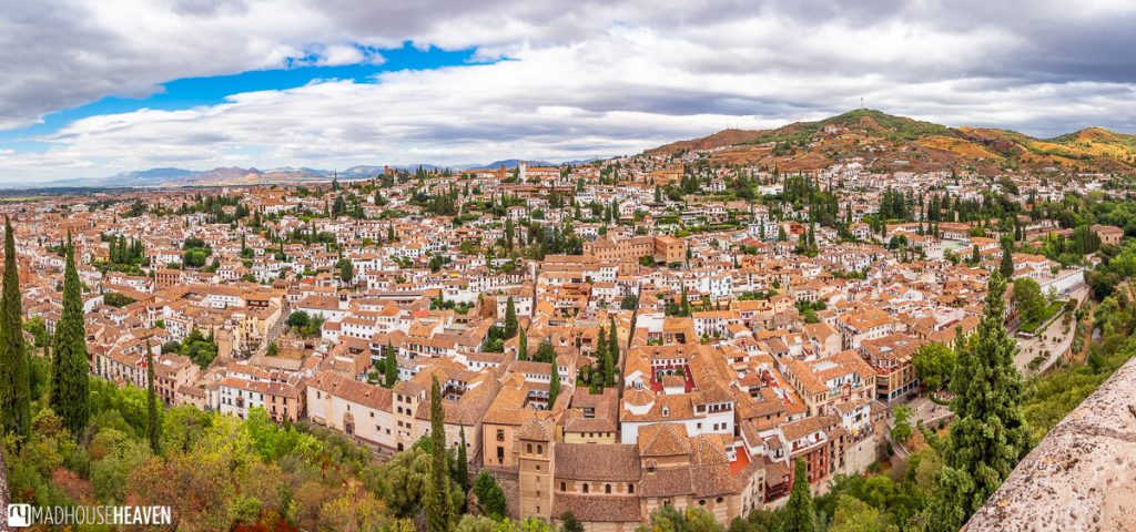 The panoramic view of the Granada Old Town from the parapets on the northern walls of the Alcazaba