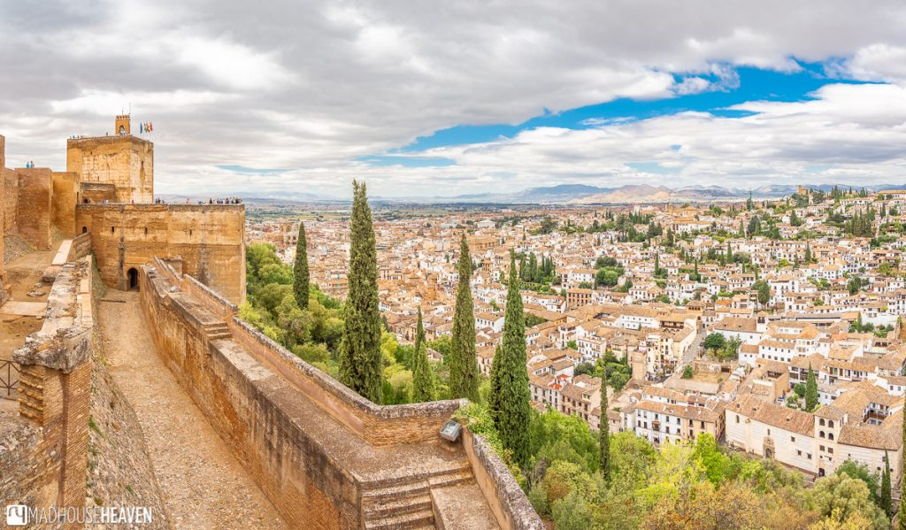 The view of the Granada Old Town from the northern walls of the Alcazaba fortress
