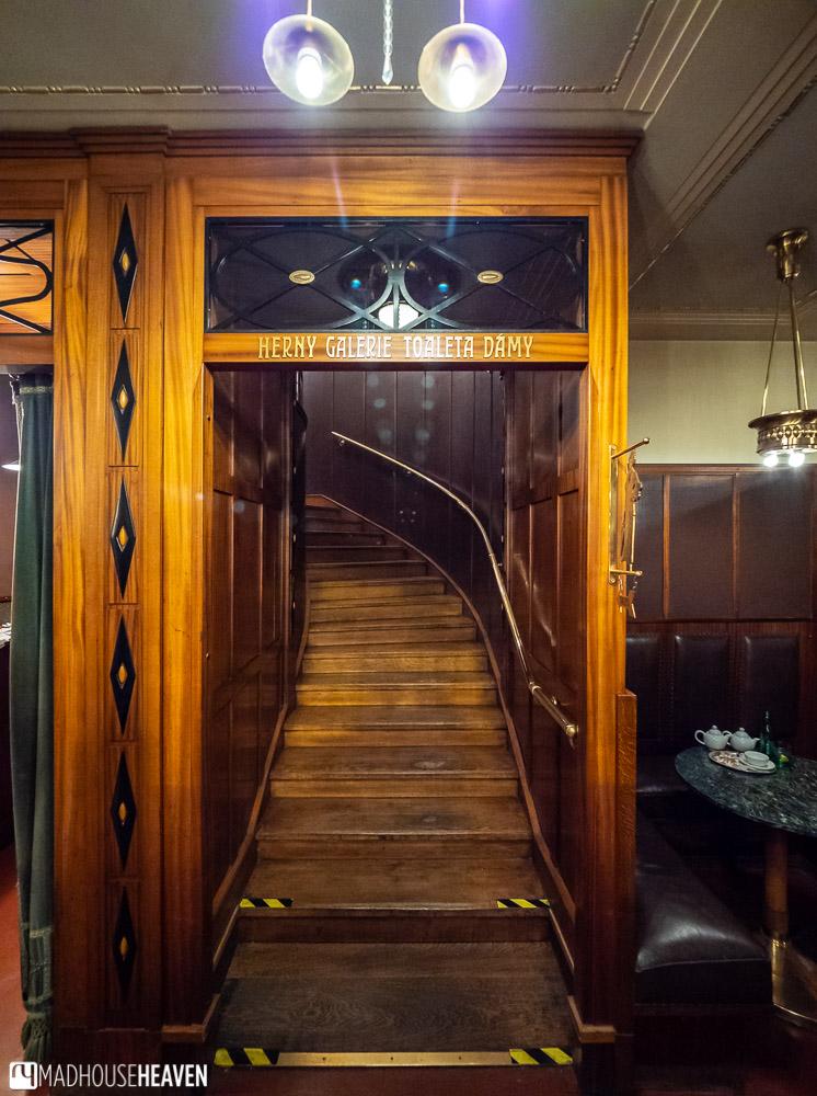 Wooden Art-Noveau curving stairway