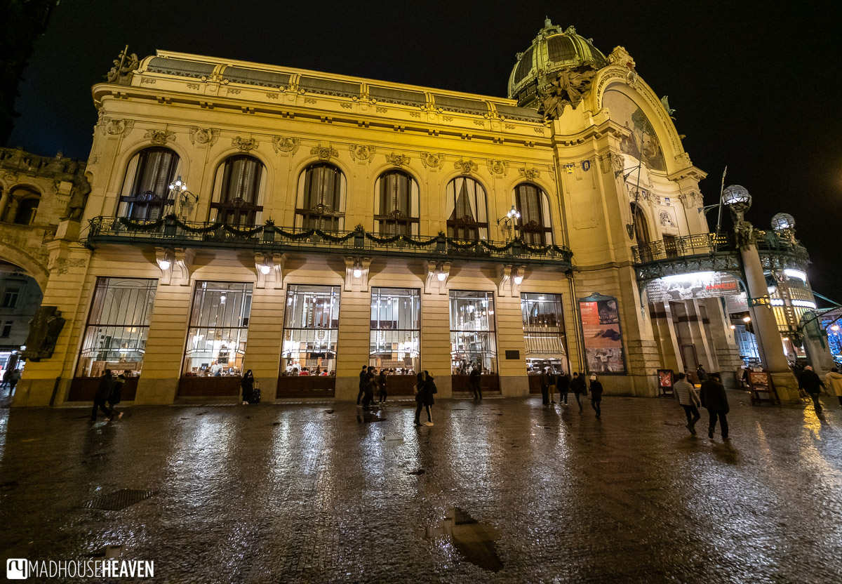 The Prague Municipal house on a rainy night