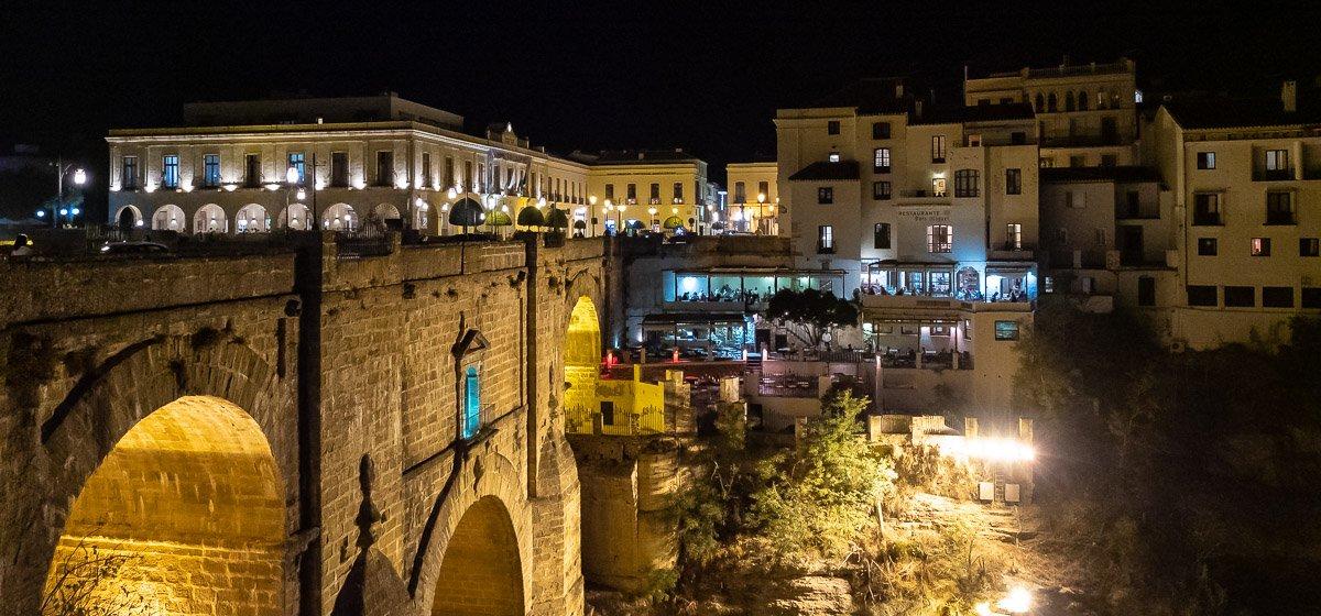 Puente Nuevo bridge in Ronda, Andalusia, Spain, at night