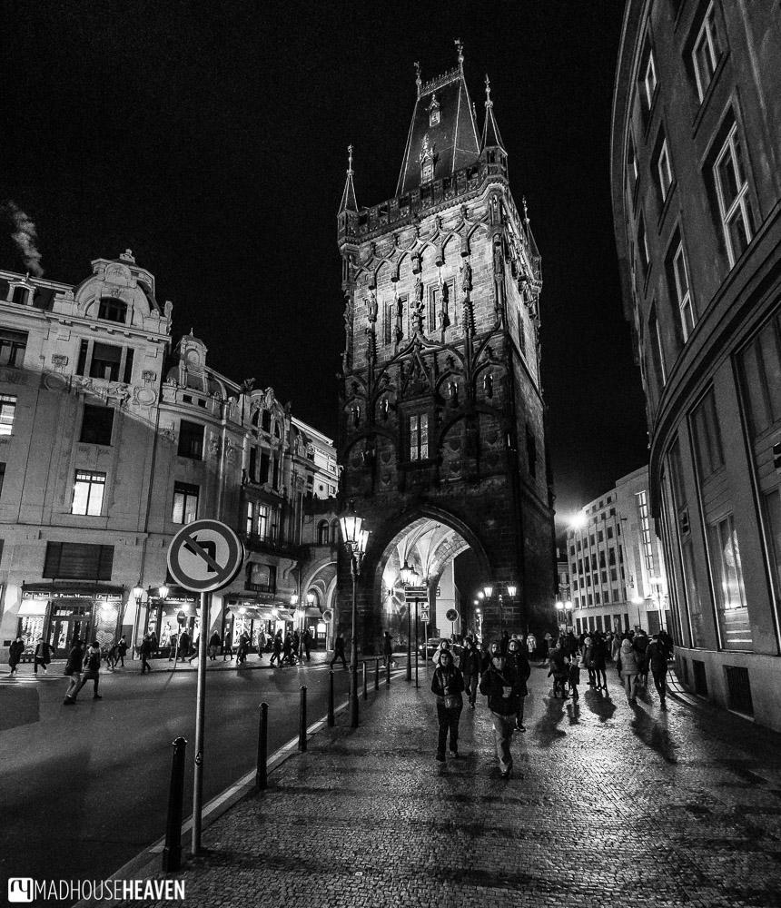 Prague powder town, lit dramatically at night