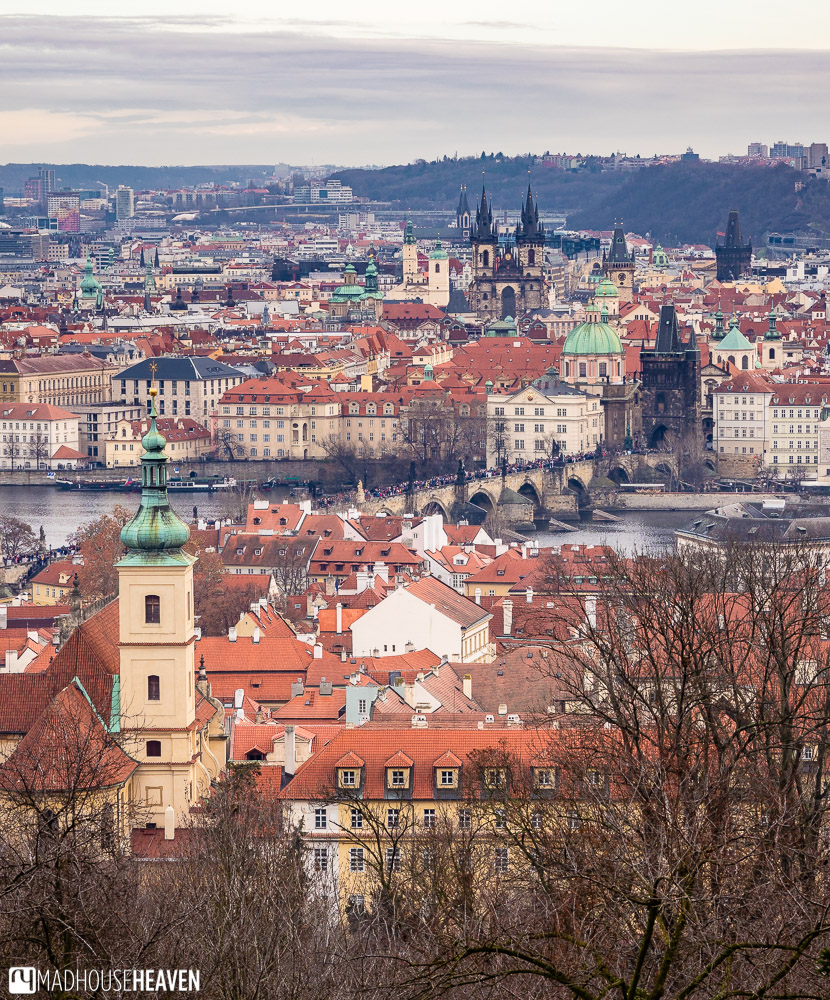 Complete view of Prague Old town from across the Vltava