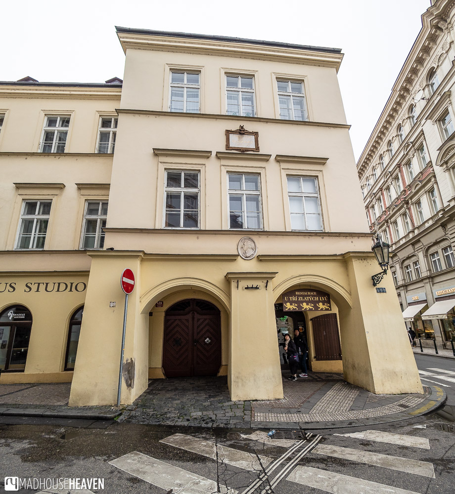The simple exterior of Mozart's house in Prague