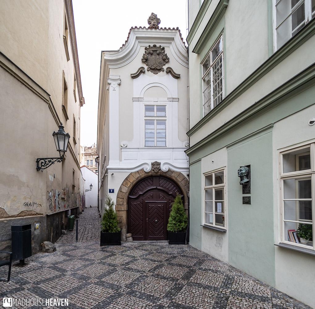 The entrance to Stříbrná alley where the cards of Prague's history are hidden