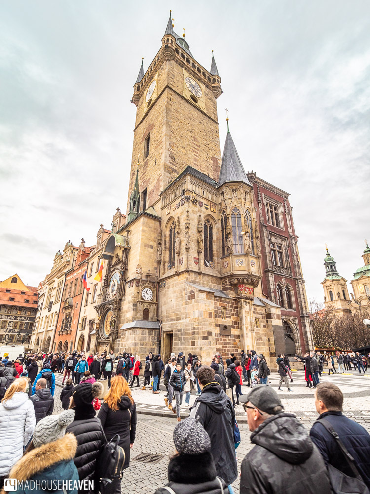 A three point perspective view of the Prague old town hall and astronomical clock