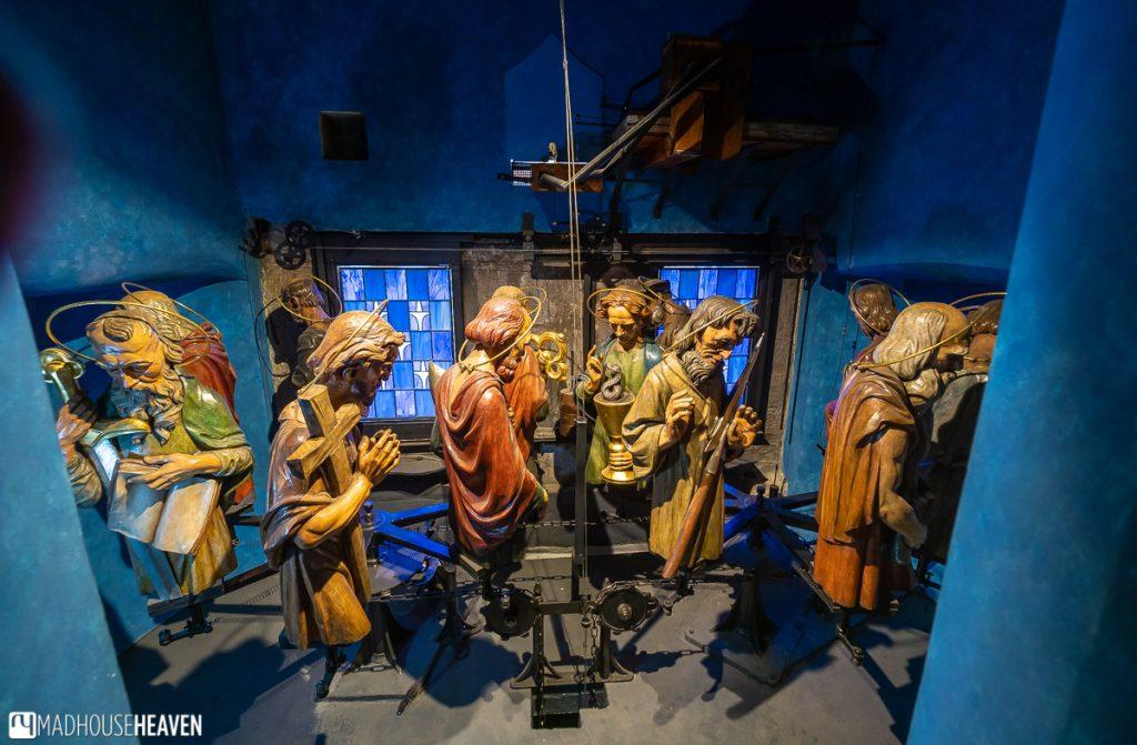 Statues of the twelve apostles hidden inside the mechanism of Prague's astronomical clock