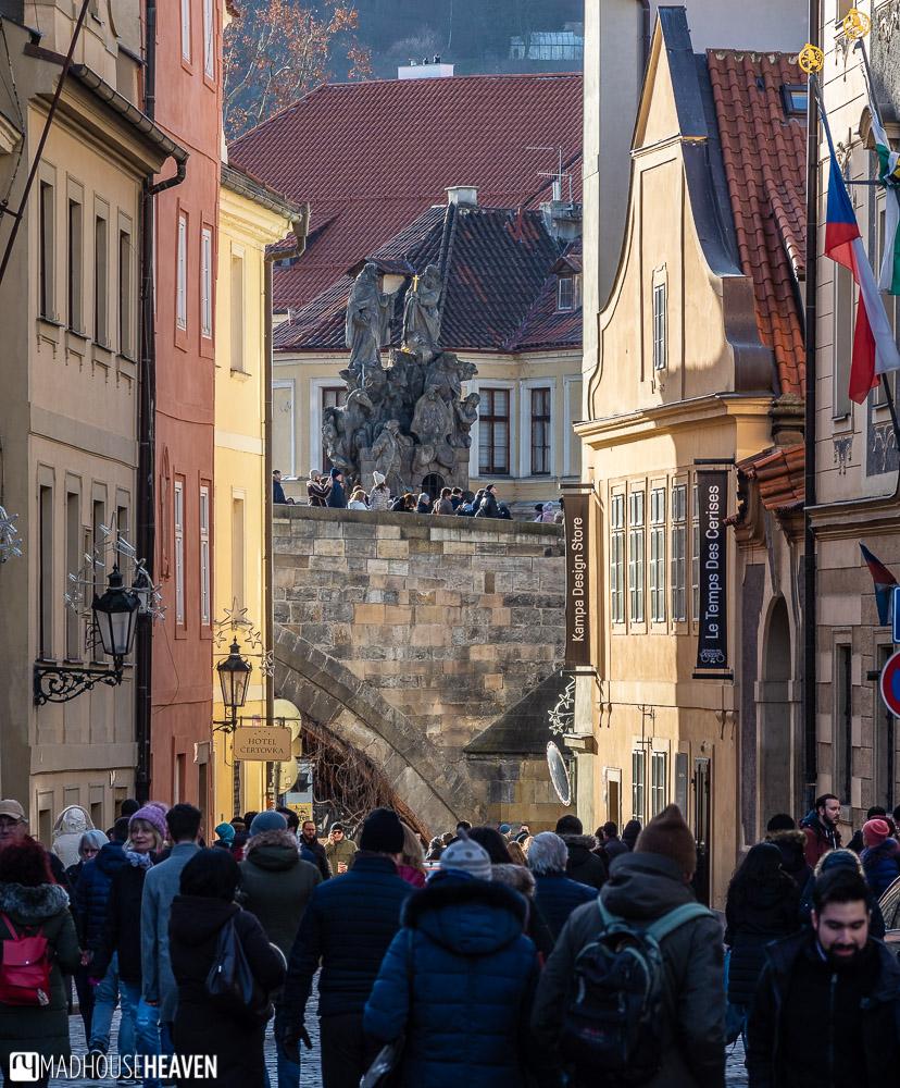 Charles Bridge in Prague, seen from the Castle side of the Vltava River