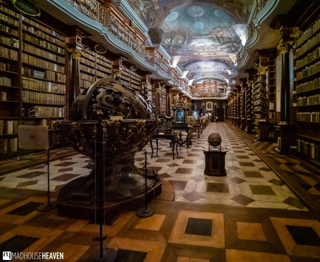 Interior of the baroque Klementinum library in Prague, with many 18th Century globes