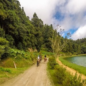Horse Riding near Sete Cidades, Sao Miguel, the Azores, Portugal