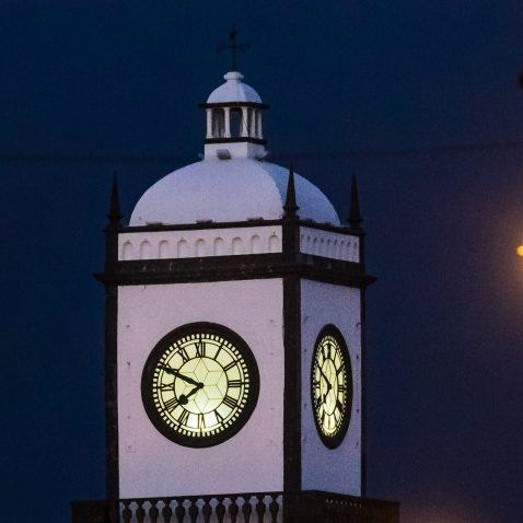 Church/Clock Tower in Ponta Delgada at Night, Sao Miguel, the Azores, Portugal