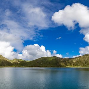 Fire Lake, Lagoa de Fogo, on Sao Miguel, the Azores, Portugal