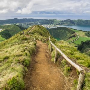 Panorama of Sete Cidades on the Sao Miguel Island, the Azores, Portugal