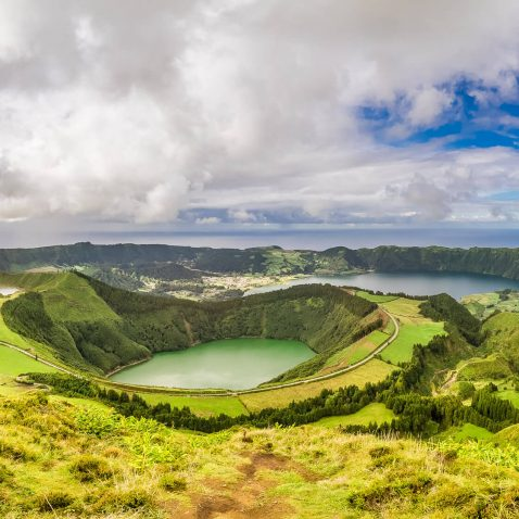 Panorama of Sete Cidades, Sao Miguel, the Azores, Portugal