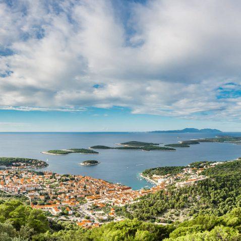 View of Hvar and Pakleni Otoci (Pakleni Islands), Croatia